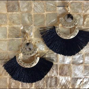 🌴Black Fan Tassel & Tortoise Shell Boho Earrings